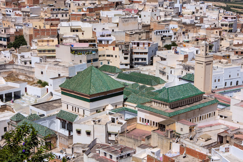view of rooftops Meknes, Morocco