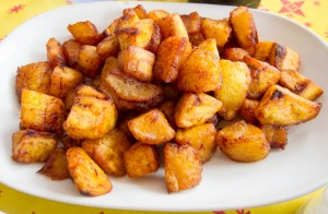 Plantains fried with ginger and chilis