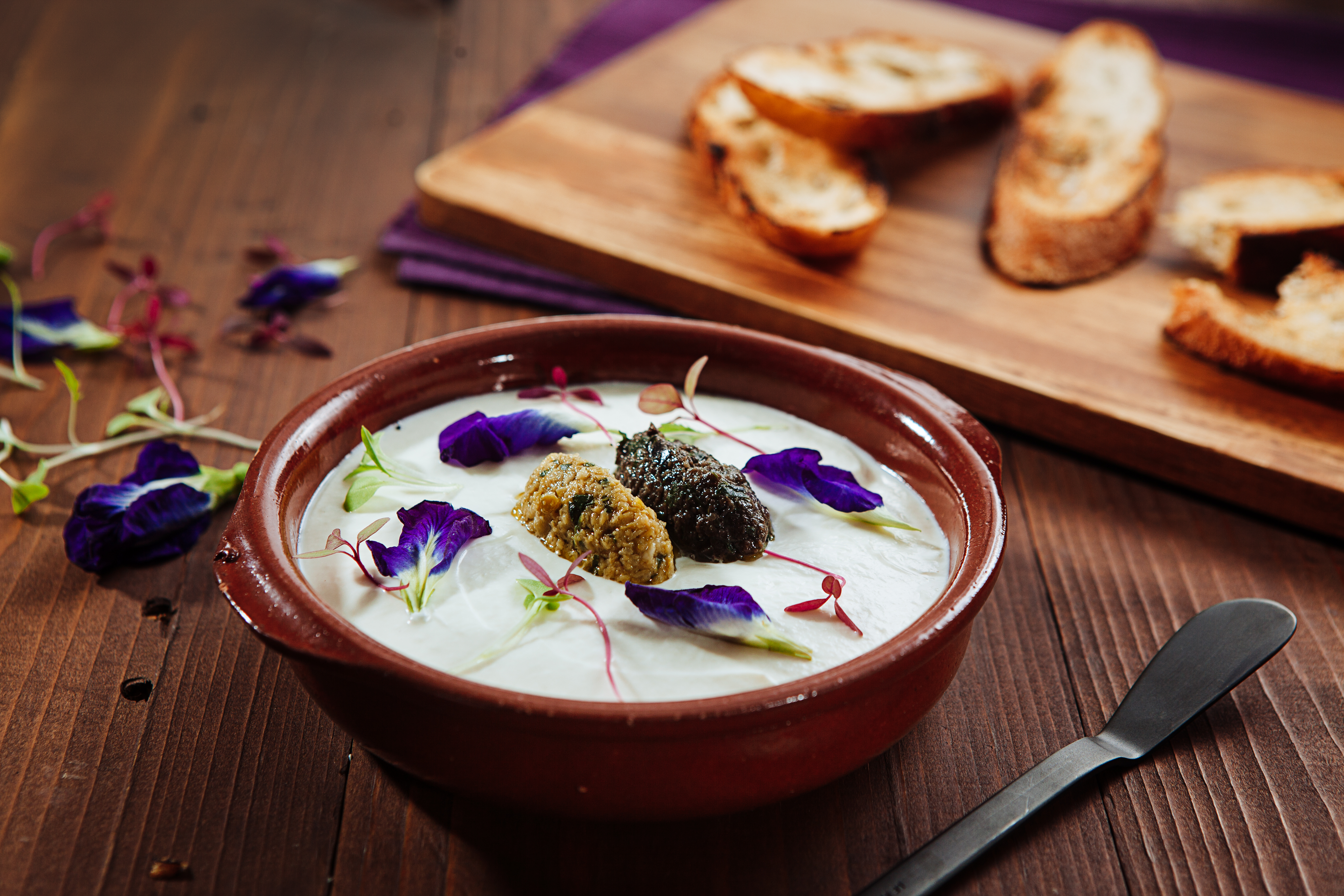 Whipped-Italian-Ricotta-with-duo-of-Tapenade-and-Grilled-Cibatta