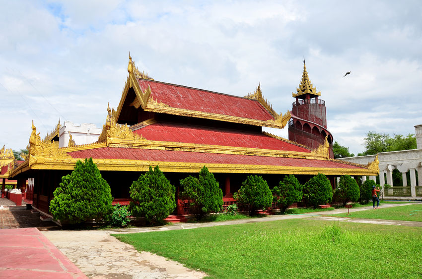 41831572 - mandalay palace is a primary symbol of mandalay and a major tourist destination in myanmar