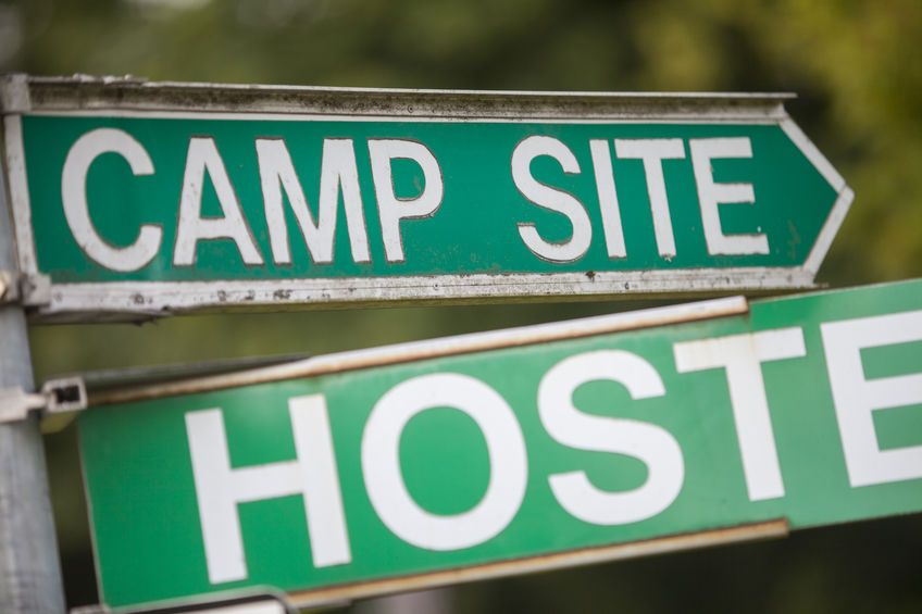 48005918 - color image of a camping and hostel indicator sign.
