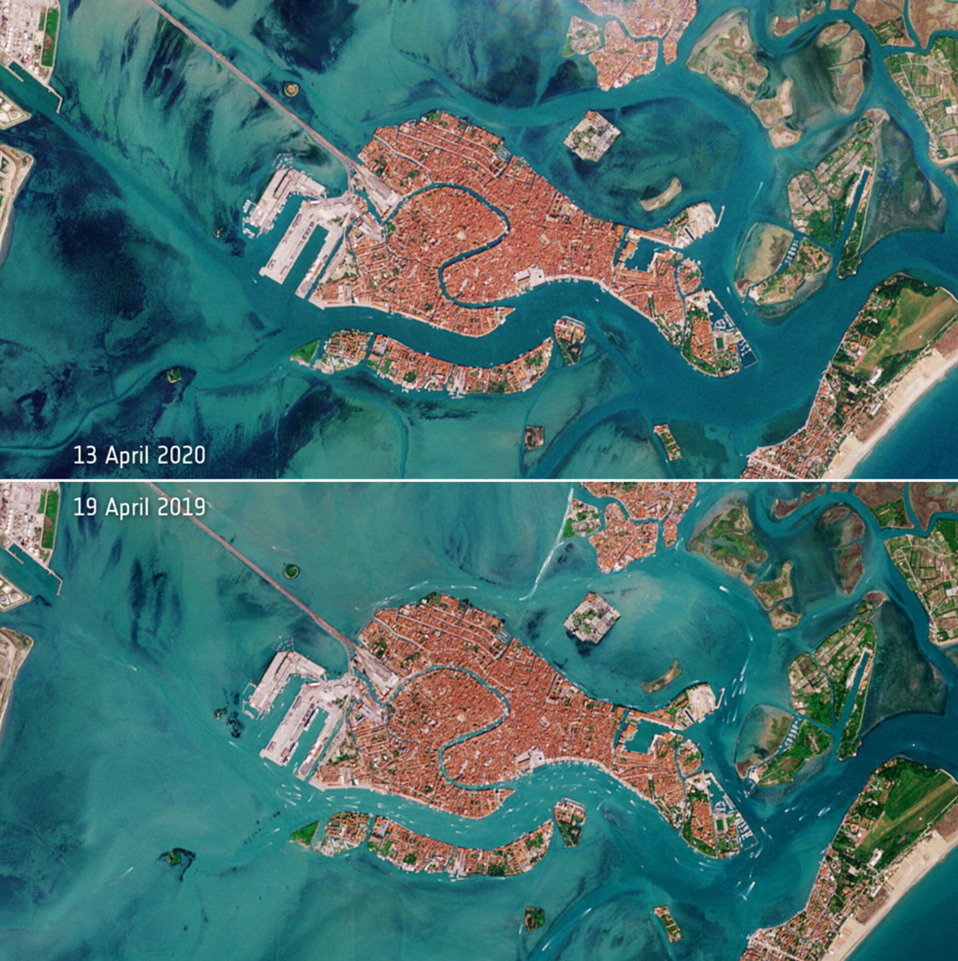 Empty Canals in Venice as seen from space
