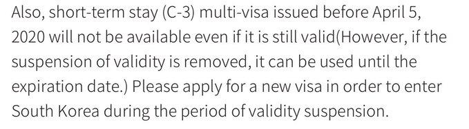 Korean Visa announcement