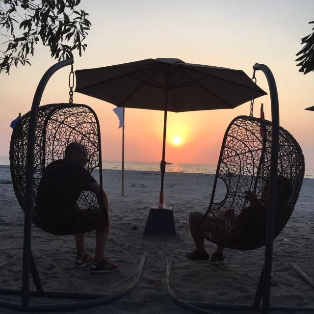 Nova Scotia Beach Resort wicker rattan swing chairs