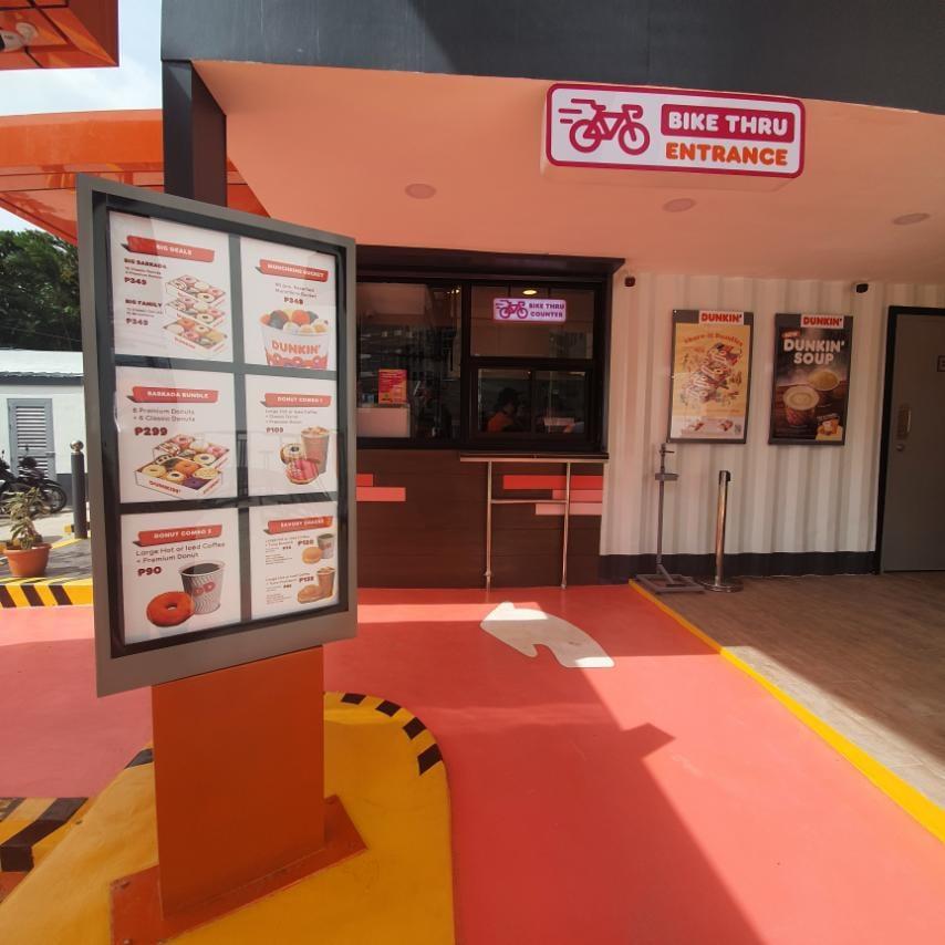 Dunkin Timog Bike Thru Entrance with Menu