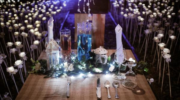 Romantic Dinner on the field of 5000 LED Roses